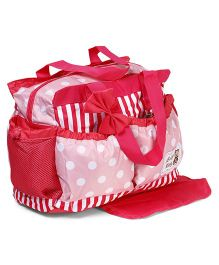 Diaper Bag With Changing Mat Polka Dot Print  - Pink & Red