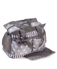 Diaper Bag With Changing Mat Polka Dot Print  - Grey
