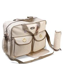 Diaper Bag With Changing Mat And Bottle Warmer Dotted Print - Cream