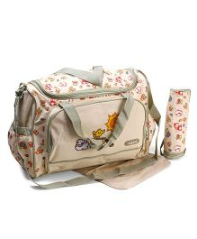 Diaper Bag With Changing Mat And Bottle Warmer Animal Print - Cream