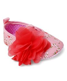 Cute Walk by Babyhug Party Wear Booties Flower Applique - Pink