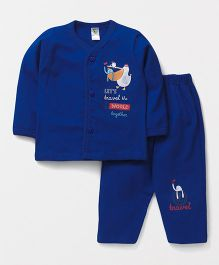 Cucumber Full Sleeves Text Print Night Suit - Royal Blue