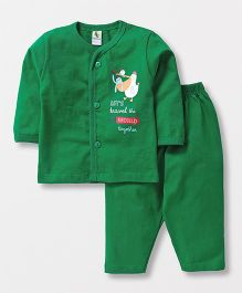 Cucumber Full Sleeves Text Print Night Suit - Green