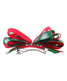 NeedyBee Christmas Hairbow Clip - Red Green