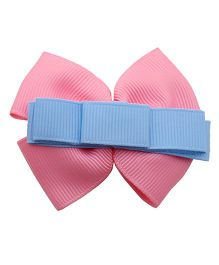 NeedyBee Ribbon Bow Clip - Blue Pink