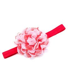 NeedyBee Headband With Rose Applique - Pink & Red