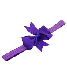 NeedyBee Headband With Ribbon Bow Applique - Purple
