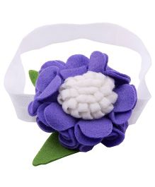 NeedyBee Headband With Felt Flower Applique - White & Violet