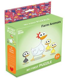 Braino Kidz My First Mini Jigsaw Puzzle Farm Animals Multicolor - 25 Pieces