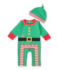 Pre Order - Superfie Xmas Theme Santa Romper With Hat - Green