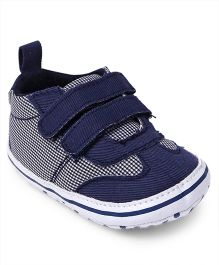 Cute Walk by Babyhug Shoes Style Check Booties - Navy