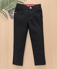Babyhug Full Length Cotton Lycra Trouser - Black
