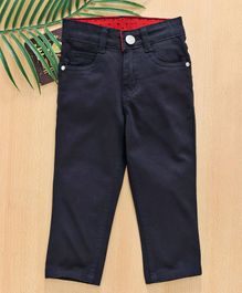 Babyhug Full Length Trouser With Adjustable Elastic Waist - Navy