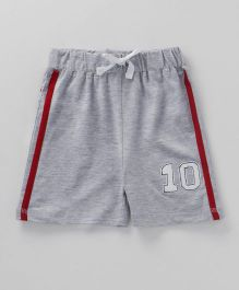 Babyhug Shorts With Drawstrings Number 10 Patch - Grey