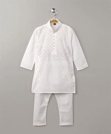Enfance Smart Design Kurta Pajama Set - White