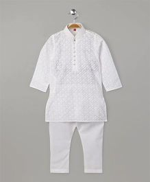 Enfance Trendy Design Kurta Pajama Set - White