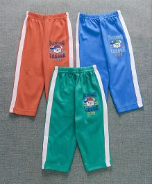 Zero Full Length Track Pant Pack Of 3 - Green Blue Orange