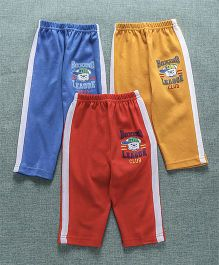 Zero Full Length Track Pant Pack Of 3 - Orange Yellow Blue