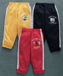 Zero Full Length Track Pant Pack Of 3 - Red Yellow Black