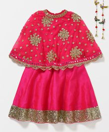 Shruti Jalan Sequin Gown With Cape - Rani Pink