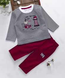 ToffyHouse Full Sleeves Striped Top & Pant Teddy & Lighthouse Embroidery - Navy & Fuchsia
