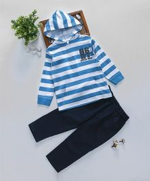 ToffyHouse Full Sleeves Hooded Winter Wear Set Stripes Print - Blue