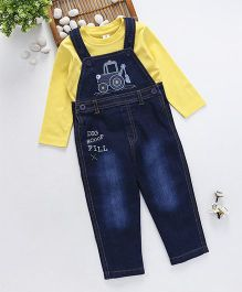 ToffyHouse Denim Dungaree With T-Shirt JCB Embroidery - Yellow & Blue