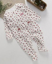 ToffyHouse Full Sleeves Footed Sleep Suit Floral Print - White & Pink