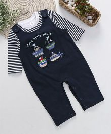ToffyHouse Dungaree With Full Sleeves Striped T-Shirt - Navy