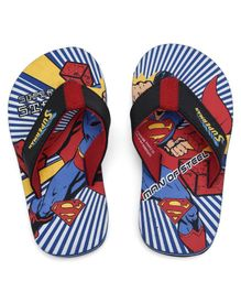 Superman Printed Flip Flops - Blue & Red