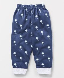 Ollypop Full Length Lounge Pant Coconut Tree Print - Blue
