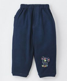 Ollypop Full Length Lounge Pant With Pocket Puppy Face - Dark Navy Blue