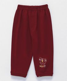Ollypop Full Length Lounge Pant With Pocket Puppy Face - Maroon