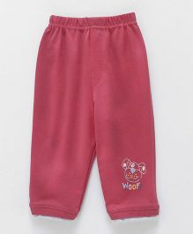 Ollypop Full Length Lounge Pant With Pocket Puppy Face - Pink
