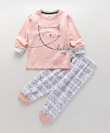 Ollypop Full Sleeves Night Suit Hello Baby Print - Light Peach