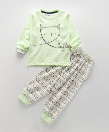 Ollypop Full Sleeves Night Suit Hello Baby Print - Light Green