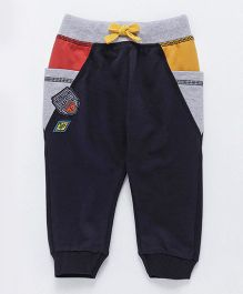 Ollypop Full Length Thermal Bottoms With Drawstring - Navy Blue Orange