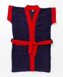 Pebbles Half Sleeves Bathrobe - Navy & Red