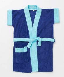 Pebbles Half Sleeves Bathrobe - Blue