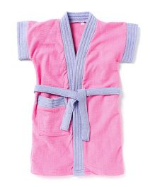 Pebbles Half Sleeves Bathrobe - Pink & Purple