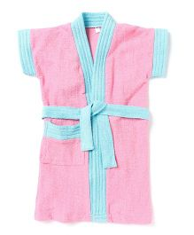 Pebbles Half Sleeves Bathrobe - Pink & Blue