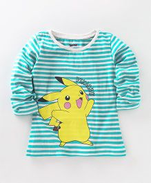 Bodycare Full Sleeves Stripe T-Shirt Pikachu Print - White Sea Green