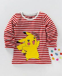 Bodycare Full Sleeves Stripe T-Shirt Pikachu Print - White Red