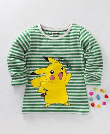 Bodycare Full Sleeves Stripe T-Shirt Pikachu Print - White Green