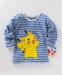 Bodycare Full Sleeves Stripe T-Shirt Pikachu Print - White Blue