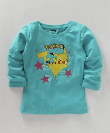 Bodycare Full Sleeves T-Shirt Pikachu Print - Sea Green