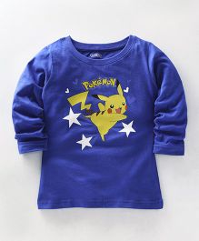 Bodycare Full Sleeves Top Pikachu Print - Royal Blue