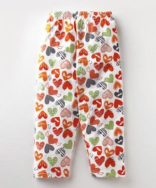 Bodycare Full Length Lounge Pants Heart Print - White Red
