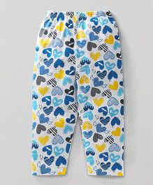 Bodycare Full Length Lounge Pants Heart Print - White Blue