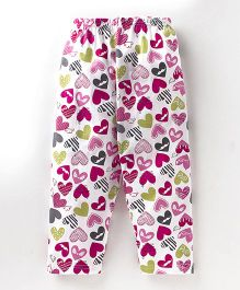 Bodycare Full Length Lounge Pants Heart Print - White Pink